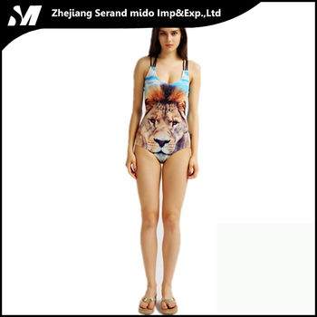 wild animal painting one piece bikini