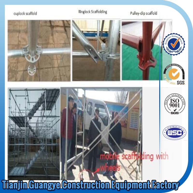 tianjin guangye Q235 Steel Ring Lock Scaffolding/ Galvanized or Paint Cuplock Scaffolding for sale