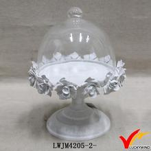 pedestal decorative metal glass dome plate cover