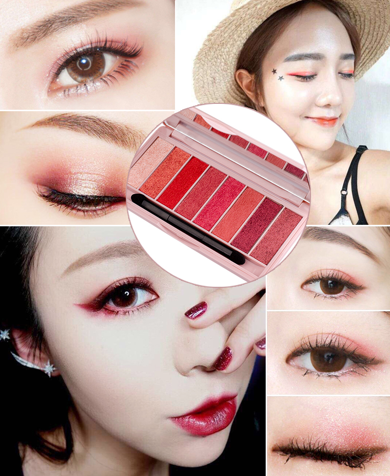Cosmetics Import China Private Label Make Up Cosmetics 8 Color Pressed Glitter Eyeshadow Palette