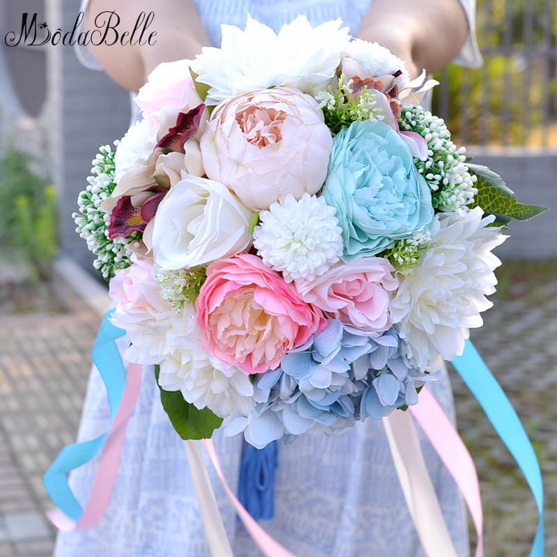 Silk Flower Wedding Bouquets For Sale: Gorgeous Multicolor Silk Flowers Bridal Ribbon Bouquet