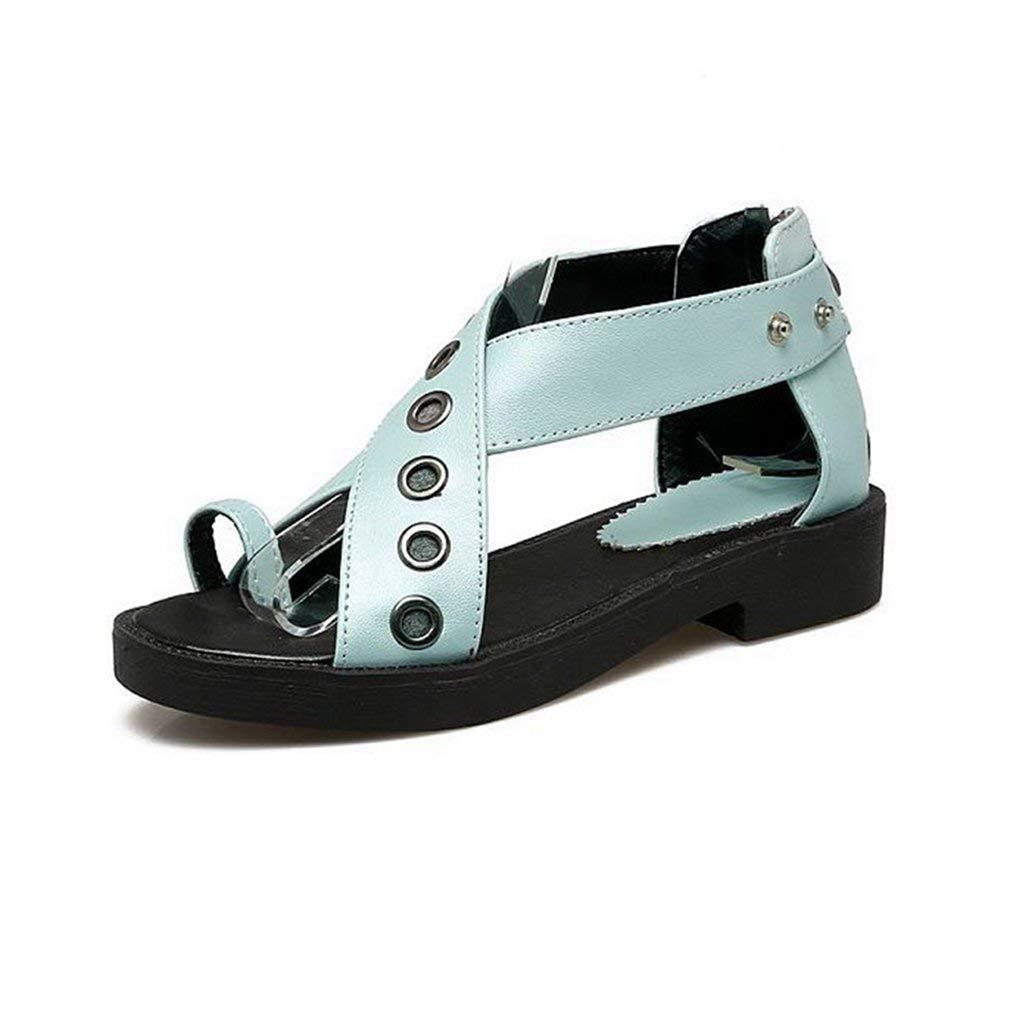 7ec32063ff3c26 Get Quotations · Women s Strappy Flat Low Heel Sandals Platform Peep Open  Toe Rivets Fashion Dress Sandals Shoes
