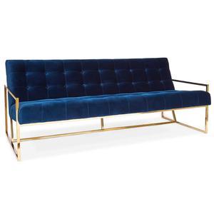 Gold stainless steel frame 2 Seats velvet lounger Jonathan Adler Goldfinger Sofa