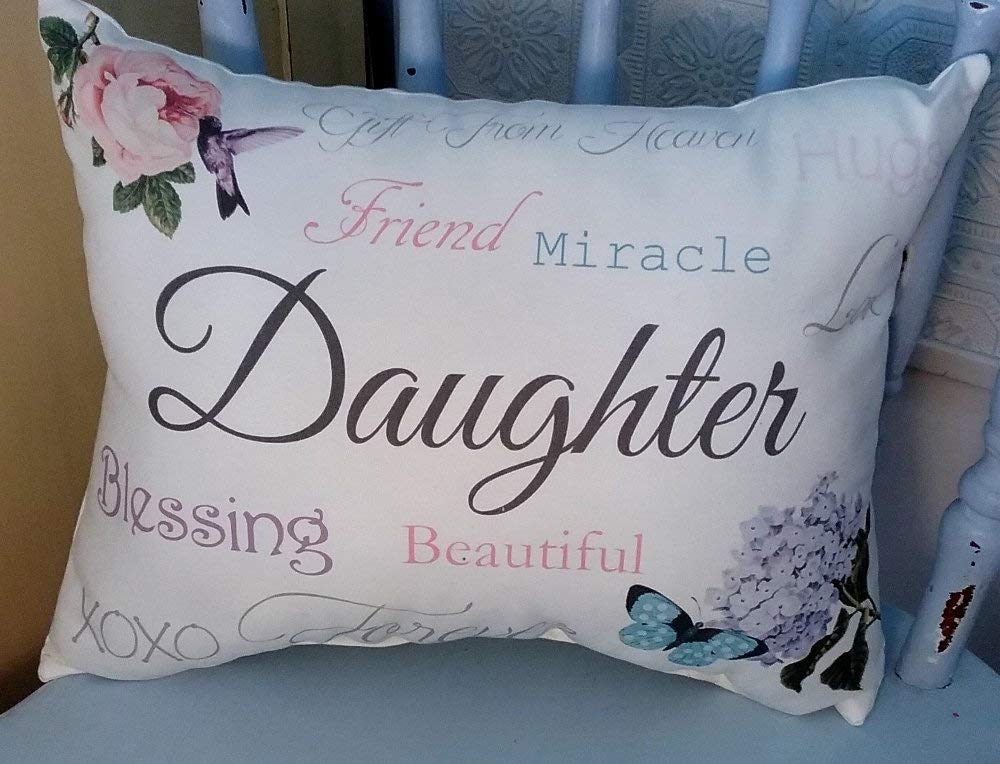 Sentimental Daughter Gift Pillow with Rose, Butterfly and Hydrangea, Daughter Birthday Gift, Daughter Christmas Gift, Daughter Gift