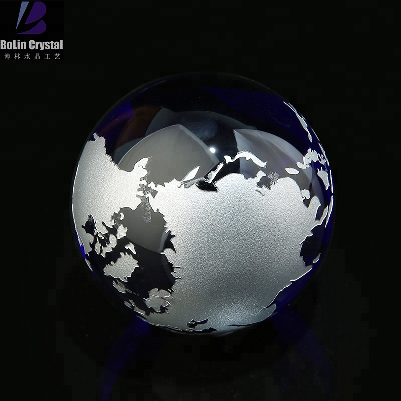 80mm blue earth terra global bola de vidro cristal