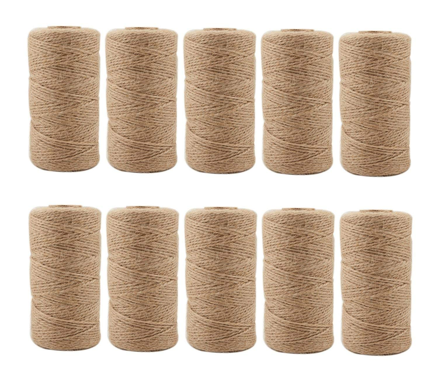Jute Twine 3280 Feet 2mm 3Ply Natural Arts Crafts Jute Rope Durable Packing String for Gardening Applications(10pcs x 328feet)