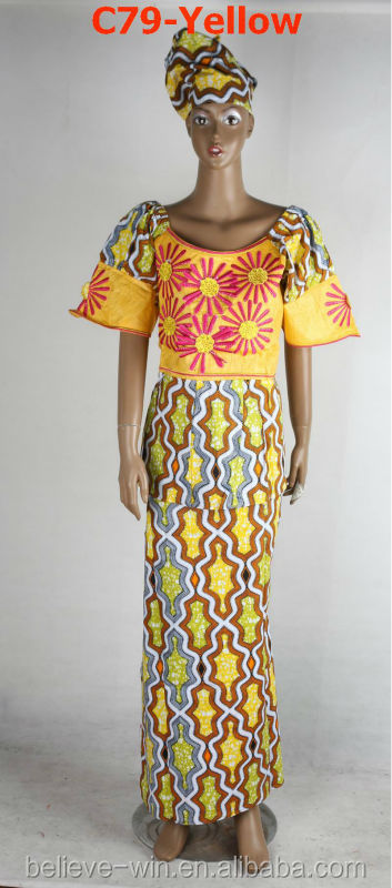 2014 embroidery design african wax fabric women dresses(C79-yellow)