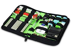 King of Flash Universal Electronics Accessories Travel Organiser / Hard Drive Case / Cable organiser - Small Versatile Electronics Accessories Wallet for Well Organised People