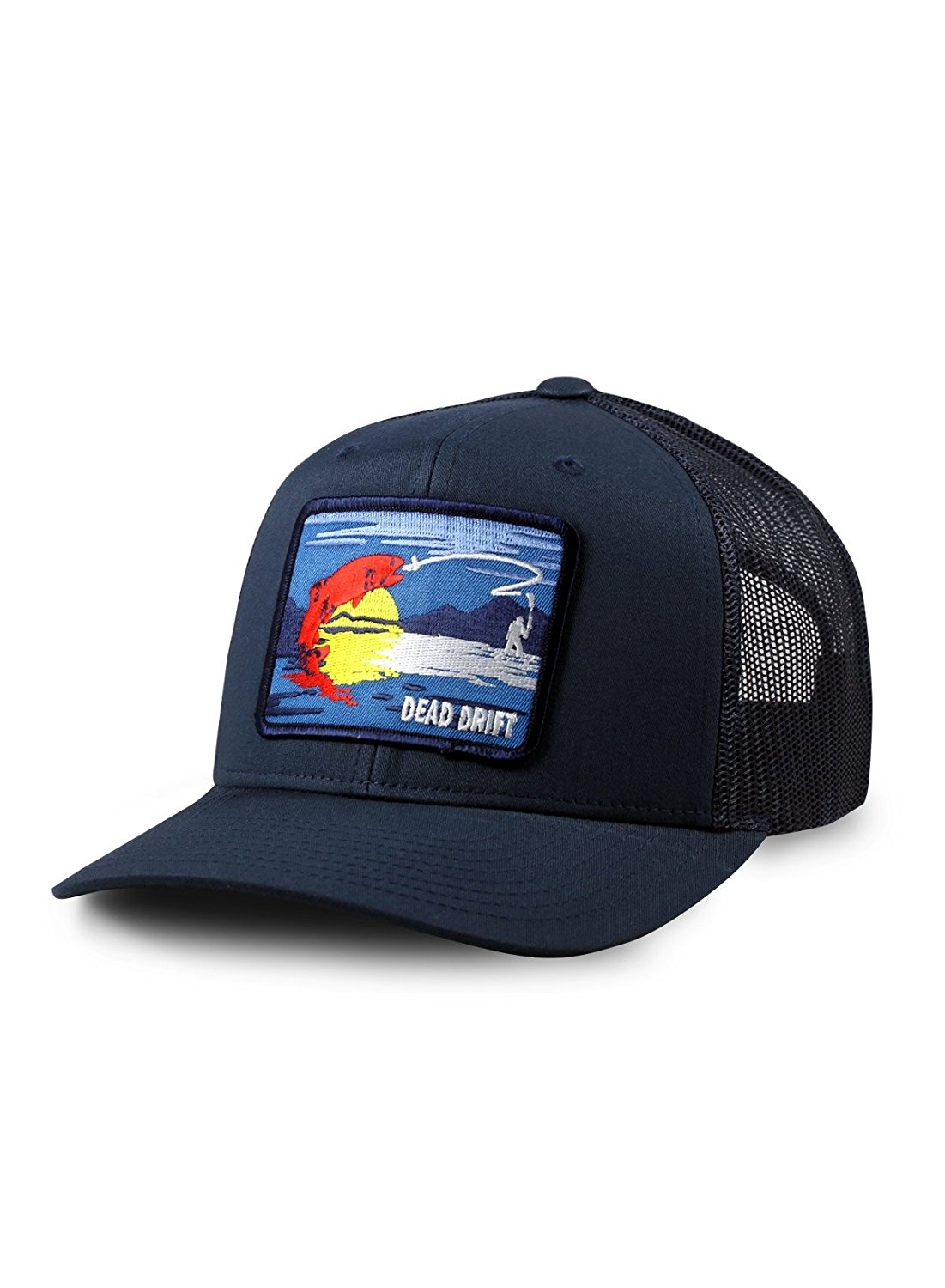 5e3061ab Get Quotations · Dead Drift Fly Fishing Hat Colorado Trucker Snapback Navy  by Fly