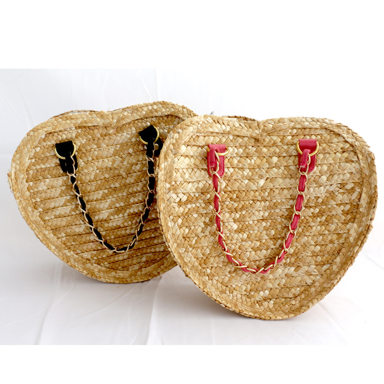 Handmade Wheat Straw Bag Beach Heart Shaped straw handbag <strong>totes</strong>