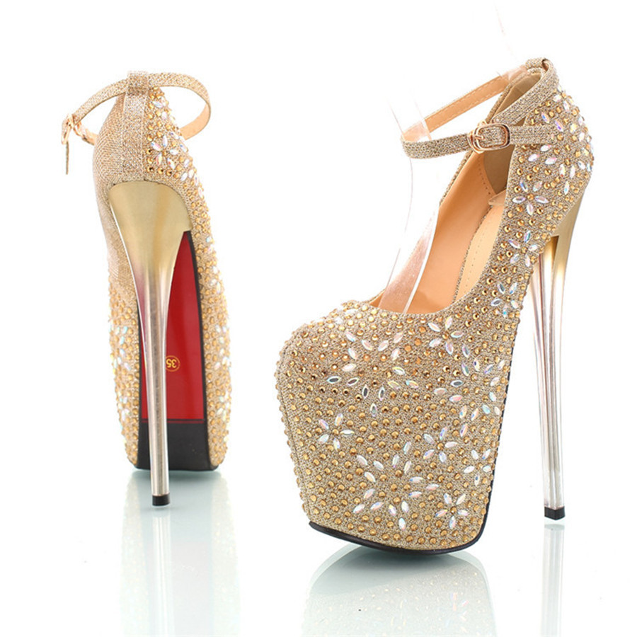 66fc3a8b490c Get Quotations · gold sexy high heels platform strappy bling wedding pumps  2015 women s designer fashion silver rhinestone stiletto