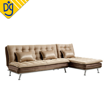 Foam Topping L Shape Sectional Recliner Fold Out Sofa Cum Bed