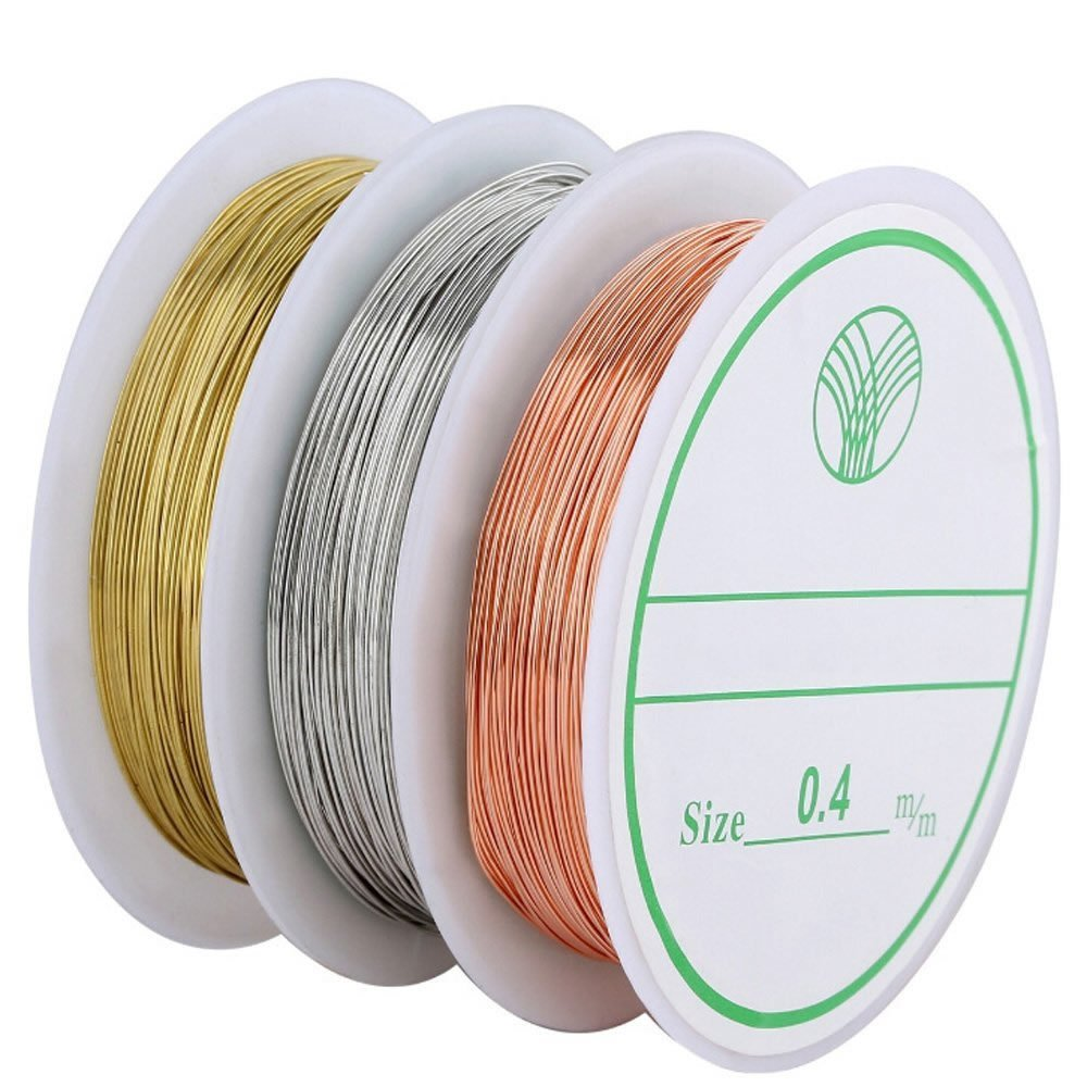 BronaGrand 3pcs 0.4 mm Tarnish Resistant Bare Copper Wire Jewelry Beading and Crafts Beading Jewelry Making