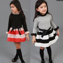 [ Humor Bear ] casual dress girls dress baby girl clothes Fashion Long Sleeve Ruffles Turtle Neck Striped Spliced Dress