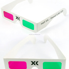 Paper magenta/green 3d glasses with custom designated logo printing whole sale