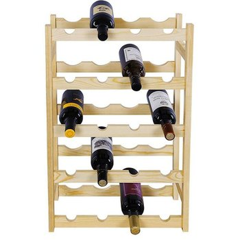 Home Durable Wood Free Standing Storage Shelf 5 Tiers Wine Display