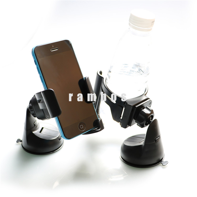 2 in1 Universal Dashboard Windshield Car Mobile Phone Mount Holder Clip Drink Water Bottle Cup Holder