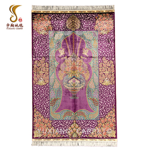 Yuxiang 4x6ft Kilim Silk Rugs Purple Hand Knotted Stan