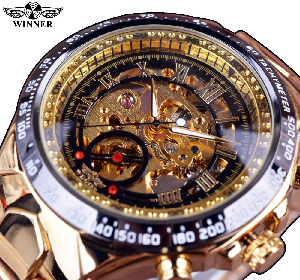 Winner Bezel Golden Watches Men Luxury brand Montre Homme Automatic Skeleton wrist watch фото