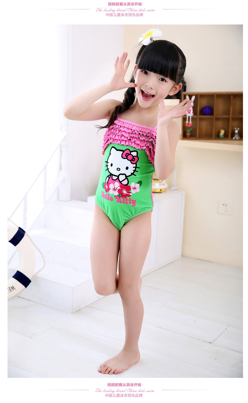 e287b4f96cc9c Girls' One-piece Swimsuit Hello Kitty Character for Baby Girls Green