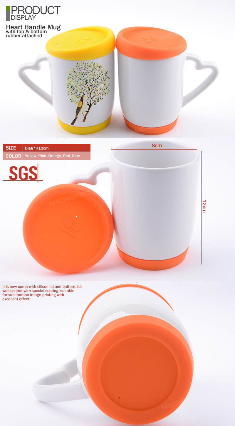 Ceramic Mug With Silicone Lid And Heart Shape Handle