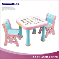 Children study plastic study tables and chairs