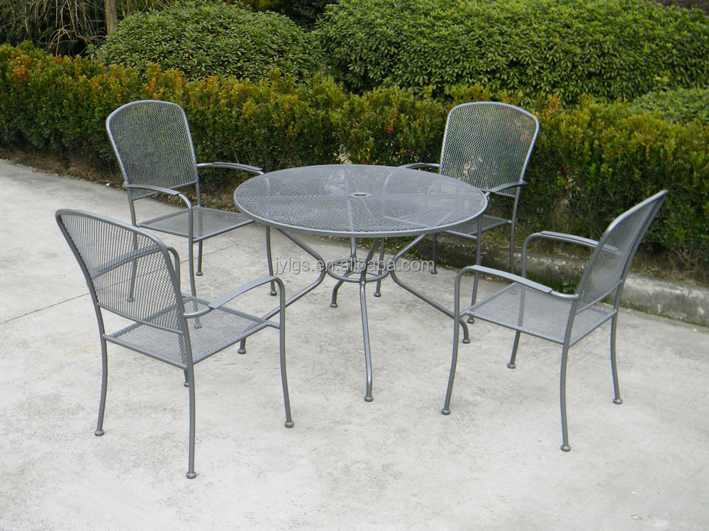 Metal Mesh Outdoor Dining Round Table And Chairs Set Chair Hideaway