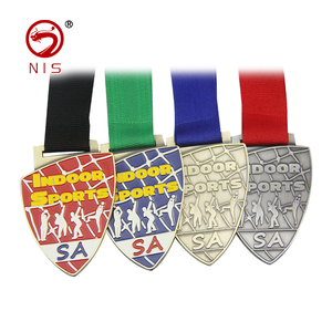 Custom design colorful shield shaped medal awards rugby sport