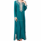 Muslim women Long sleeve Dubai Dress maxi abaya jalabiya islamic women dress clothing robe kaftan Moroccan fashion embroidery