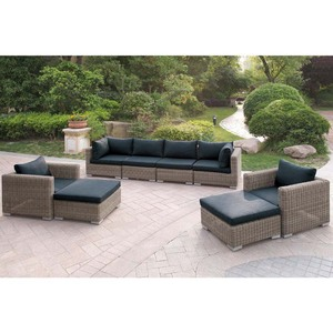 Aluminum frame PE round wicker weaved outdoor sofa set garden leisure sofa ser patio 10cm cushion chrome feet