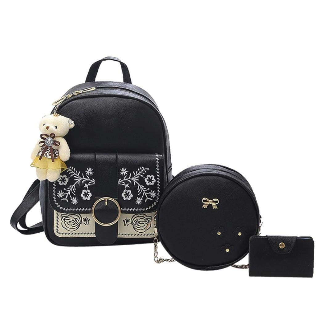 Get Quotations · 3 Piece Gotd Womens Girls Embroidery School Backpacks  Shoulder Bag Chain Leather Wallet Mini Purse Card a8d2749a1