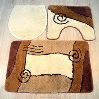 micro polyester 3pcs set jacquard design floor mat with natural latex back bathroom rug