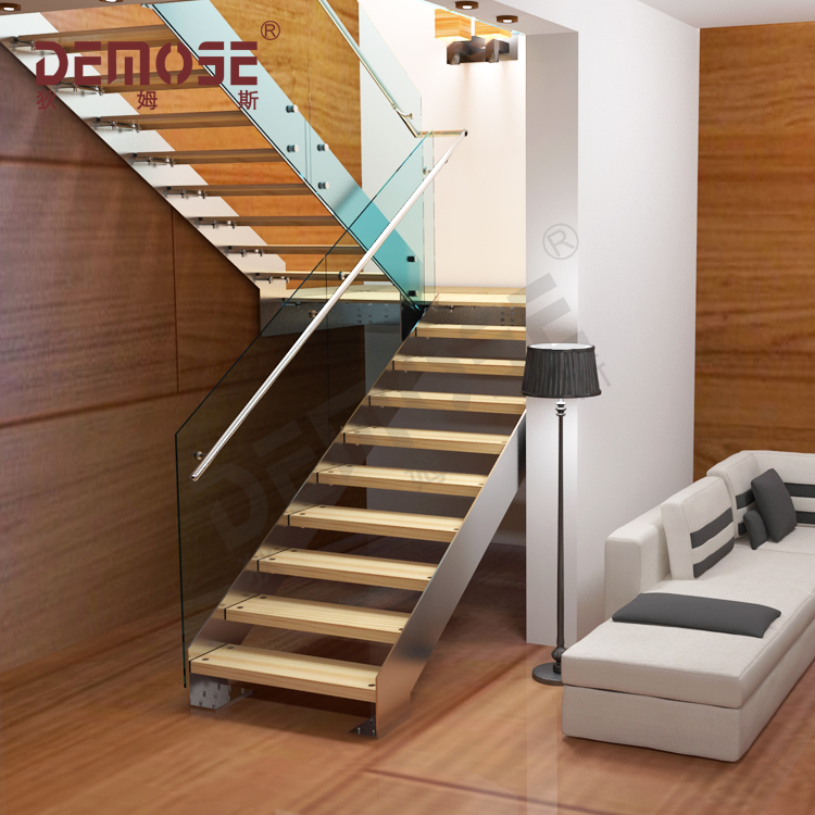 Ramp Stairs With Steel Rail And Solid Wood Stair Treads - Buy Modern  Straight Staircase,Solid Wood Stair Treads Stairs,Steel Rail Stairs Product  on