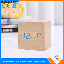 Top Selling MDF Small Alarm Desk LED Digital Wooden Clock For Sale