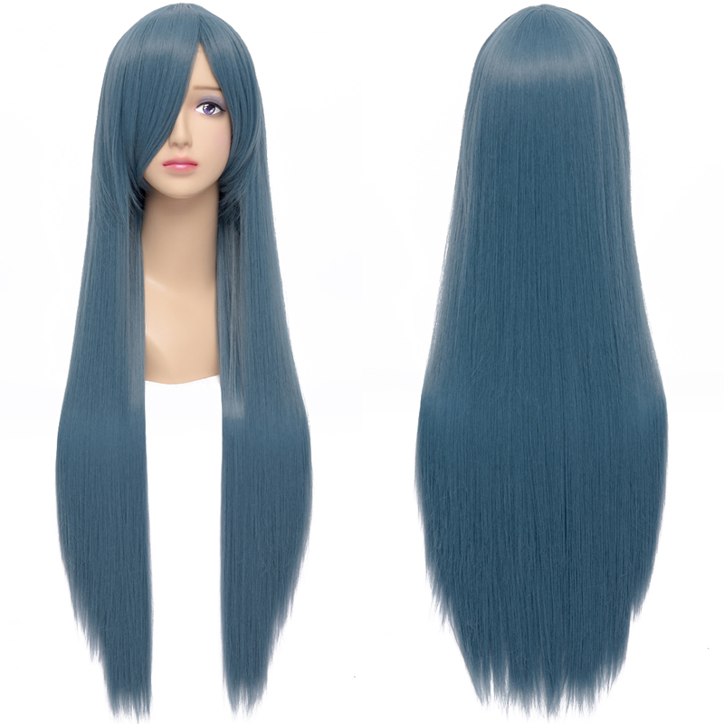 Get Quotations · New Fashion Women s Hair Wig Smoke Blue Long Straight  Synthetic Hair Heat Resistant Wig for Cosplay 13935ac49
