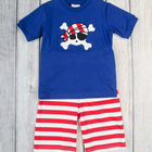 short sleeve pirate pattern cotton knit boy clothing summer set