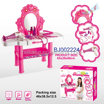 Musical Lighting Pink Dressing Table Makeup Table Toy Play Set