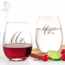 Commercio all'ingrosso Personalizzato Mr e Mrs Wedding Stemless <span class=keywords><strong>Tazza</strong></span> <span class=keywords><strong>di</strong></span> <span class=keywords><strong>Vetro</strong></span> <span class=keywords><strong>di</strong></span> Vino