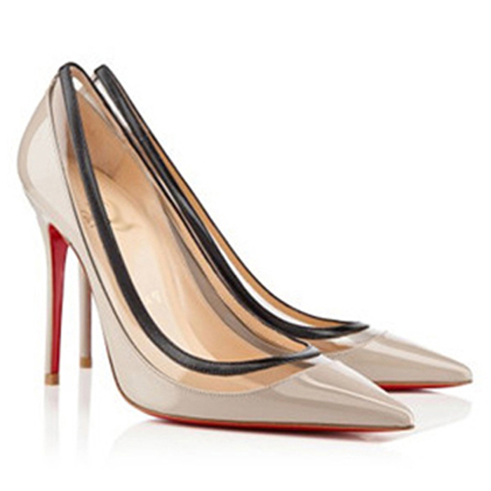c675d6432adc1b Buy Nude red bottom pumps high heels brand genuine leather women pointed toe  transparent patent leather stiletto pumps shoes 10cm in Cheap Price on ...