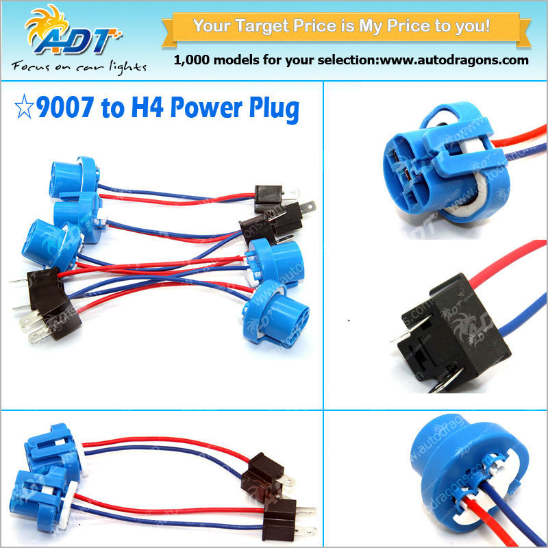 H4/9003 To 9004/9007 Conversion Harness Cable Socket Plug Adapter Wire on 9004 bulb wiring, 9003 bulb wiring, h4 to h13 wiring,