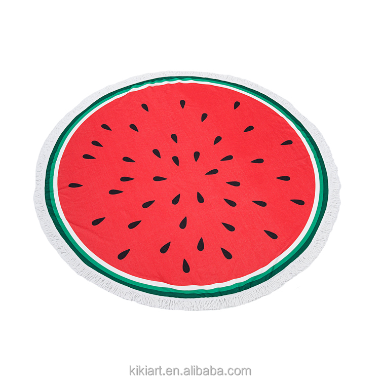 China manufacturer 2018 trending products diameter 150 cm fruit food print pattern round beach towel with tassels