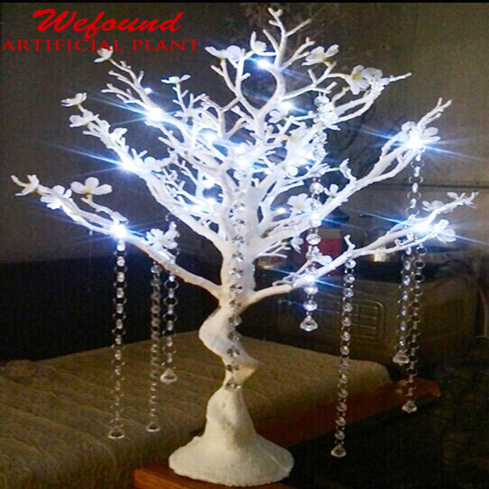 Wf08041 75cm Led Manzanita Tree White Silver Wedding Centerpieces With Lights Wish Table
