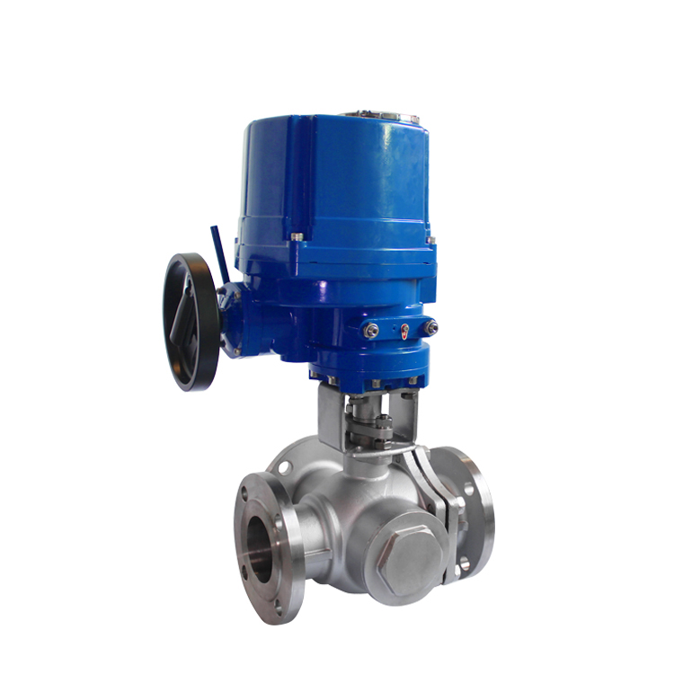 220 V AC 3 Cara Explosion Proof Flange Electric Actuator Ball Valve