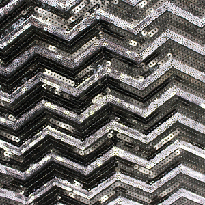 5mm+3mm Black and Silver Poly Spangle Sequin Fabric Embroidery Polyester Nylon Sequin Taffeta Fabric