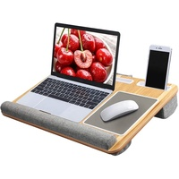 bamboo Lap Desk Fits up to 17 inches Laptop Desk Built in Mouse Pad Wrist Pad for Notebook Mac Book Tablet Laptop Stand