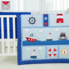 Polyester blue ship printed crib bedding sets affordable navy cot bedding set