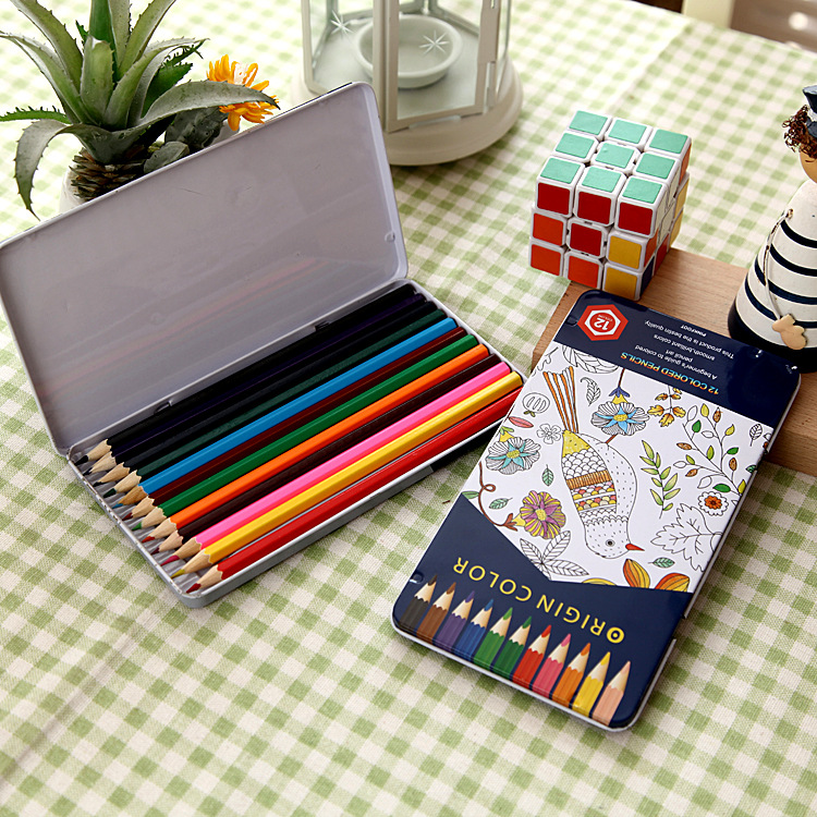 Christmas gift soft core 12colors 7 inch color pencils with Metal tin box for kids drawing