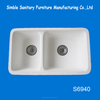 Wholesale Double square shape solid surface kitchen sink/ artificial stone kitchen basin