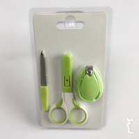 3pcs Baby Manicure Nail Scissors Set with double blister card pack