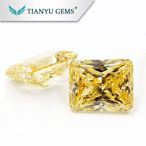 wholesale synthetic cz stones special cushion cut 8x10mm light yellow color cubic zircon gemstones